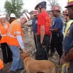 Ranger greets Hurricane Katrina recovery volunteers.